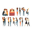 romantic dinner dating couples set lovers walking vector image