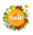 sale banner ball from flowers with butterfly vector image vector image