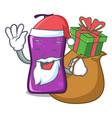 santa with gift shampo mascot cartoon style vector image vector image