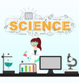 scientist testing with science icons in laboratory vector image