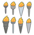 set of fire torch vector image