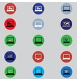 set of icons with computers in flat design vector image vector image