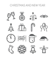 set simple icons for new year and christmas vector image vector image