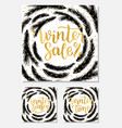 set winter sale season and time lettering design vector image vector image