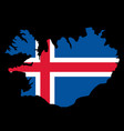 silhouette country borders map of iceland on vector image vector image