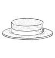 single sketch kanotie straw hat vector image vector image