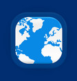 square blue world map icon vector image vector image