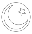 Star and crescent icon outline style vector image vector image