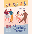 swing party colorful promo poster with place vector image vector image