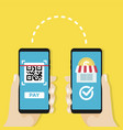 transfer money to shop by qr code mobile payment vector image vector image