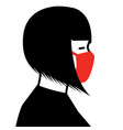woman wearing medical face mask vector image