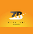 zb z b letter modern logo design with yellow vector image vector image