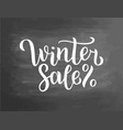 winter sale lettering on blackboard winter sale vector image