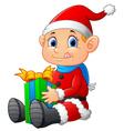 little santa holding gift box vector image