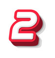 3d bold funny number 2 heavy type for modern vector image