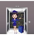 A flight stewardess inside the elevator vector image vector image