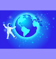 astronaut in outer space spaceship orbiting earth vector image