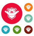 badge quality icons circle set vector image vector image
