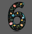 black glared number six with watercolor flowers vector image vector image