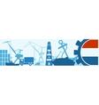 Cargo port Netherlands flag in gear vector image vector image