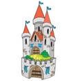 cartoon castle with fortification vector image