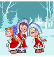 cartoon funny Snow Maidens in the winter forest vector image vector image