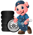 cartoon pig mechanic with car tire giving a thumbs vector image