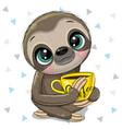 cartoon sloth with a yellow cup coffee vector image