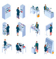 chemical laboratory isometric icons set vector image