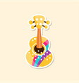 classical guitar cute sticker in bright colors vector image