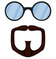 colorful cartoon goatee glasses set vector image vector image