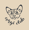 corgi club badge banner of logo design template vector image
