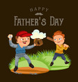 dad in baseballcap with ball and glove hand vector image vector image