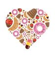 desserts in heart vector image vector image