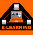 e-learning banner with group of computers in vector image vector image