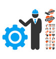 engineer with gear icon with valentine bonus vector image