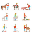 farmers breeding livestock farm profession worker vector image vector image