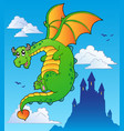 flying fairy tale dragon near castle vector image