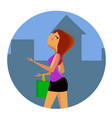 girl with shopping bags walking down the street vector image