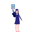 happy girl student graduate holding diploma in her vector image