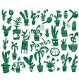 houseplants - doodles set vector image vector image
