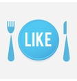 I Love FOOD - plate Button With Fork And Knife vector image vector image