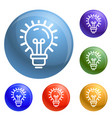 idea bulb icons set vector image