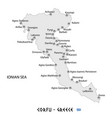 island of corfu in greece white map vector image vector image