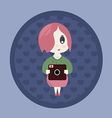 Japanese girl with a camera vector image vector image