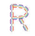 Letter R made in rainbow colors vector image