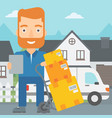 man delivering boxes vector image