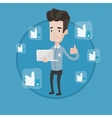 Man with thumb up and like social network buttons vector image vector image