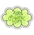 organic product patch isolated absolutely eco food vector image
