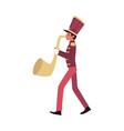 parade and marching band participant a red faced vector image vector image